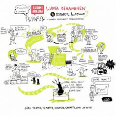 "Linda | Redanredan.fi sanoo Instagramissa: ""Luova osaaminen - osaava luovuus -paneelin livekuvitus - #SuomiAreena"" Sketch Notes, Bullet Journal, Graphic Design, Map, Digital, Instagram, Location Map, Maps"