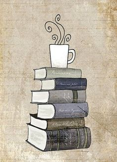 I Love Books and Coffee Print, Kitchen Art Illustration, Books and Reading Book Art, Tea Cafe Art Drawing, Book Lover Art Print Stack Of Books, I Love Books, Good Books, Books To Read, Reading Books, Book Drawing, Drawing Style, Cafe Art, Coffee And Books