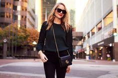 Fall Outfit, Holiday Outfit, Club Monaco Ruffle Sleeve Top, Gucci Handbag, Red Lipstick
