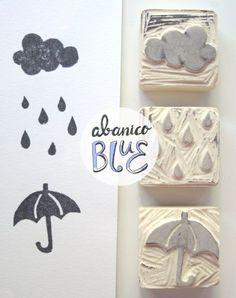 Sello goma paraguas lluvia nube: