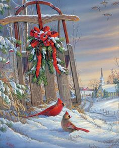 me ~ Pin on Christmas projects ~ Springbok Puzzles Winter Red Birds 500 Piece Jigsaw Puzzle - Multi Christmas Canvas, Christmas Bird, Christmas Paintings, Christmas Scenes, Christmas Clipart, Vintage Christmas Cards, Christmas Pictures, Winter Christmas, Christmas Wreaths