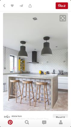 55 Smart Innovative Kitchen Island Ideas and Designs to Makeover Your Home - Contemporary Modern Kitchen Small Kitchen Ideas, DIY, Kitchen Remodel - Designblaz New Kitchen, Kitchen Interior, Kitchen Decor, Spanish Kitchen, Kitchen Rustic, Kitchen Booths, Bar Stools Kitchen, 1930s Kitchen, Industrial Kitchen Island