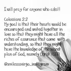 Pray for each other! God Bless you