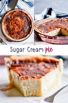 This Sugar Cream Pie (aka, Hoosier Pie) is quick and easy, because you cook the filling on the stovetop before baking. It doesn't take long to set, and you can eat it warm or chilled! Plus, that crackly cinnamon sugar topping is life Best Dessert Recipes, Pie Recipes, Easy Desserts, Holiday Recipes, Special Recipes, Salted Honey Pie, Cream Pie, The Best, Sweet Tooth
