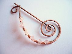 Shawl Pin Brooch  Copper Wire and Rose Quartz Stones by indigoDOT, $14.80