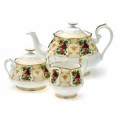 Royal Albert Rose Cameo Teapot, Sugar And Creamer Set