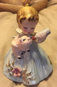 JOSEF ORIGINALS RARE LITTLE GIRL FEEDING A PIG in Collectibles | eBay