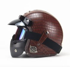 DOT Certified PU Leather Motorcycle Helmets w/ Goggle and Mask