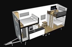 "This Tiny House Sleeps Up to 6 People - - Plus, it has a ""reverse layout. Two Bedroom Tiny House, Tiny House Closet, Tiny Beach House, Tiny House Storage, Tiny House Trailer, Tiny Houses Plans With Loft, Tiny Houses For Rent, Modern Tiny House, Tiny House With Loft"