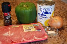 pork chops with pineapple, peppers and onions ingr