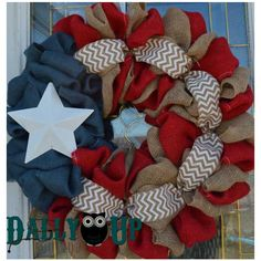 Fun 4th of July Burlap Wreath Patriotic Burlap Wreath Americana Wreath... ($39) ❤ liked on Polyvore featuring home, home decor, black, home & living, home décor, ornaments & accents, outside door wreaths, outdoor home decor, black home decor and outdoor door wreaths