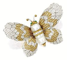 Cultured Pearl, Diamond and Emerald 'Butterfly' Brooch, Gianmaria Buccellati