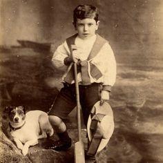 1880s BOY & JACK RUSSELL TERRIER DOG CABINET CARD PHOTO VICTORIAN CHELTENHAM