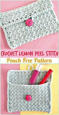 Crochet Lemon Peel Stitch - crochet clutch bag