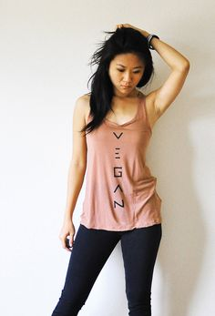 Vegan Clothing   Mocha racer back tank top  Size 4 / by lamotif01