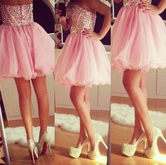 Sparkly Crystal Beaded Bodice Pink Skirt Homecoming Dresses Strapless Short Prom Dresses on Luulla