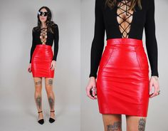Vintage 1980s Red Leather Miniskirt