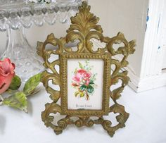 Antique Victorian PICTURE FRAME Photo Iron by WhiteSwanAntiques