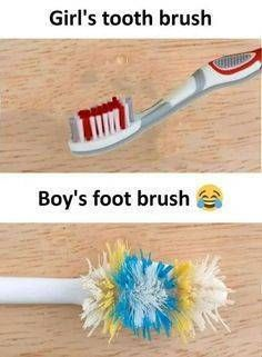 The post Girl& Tooth Brush vs Boy& Foot Brush appeared first on Gag Bee. Eid Jokes, Foot Brush, Funny Fun Facts, Boys Vs Girls, Girl Truths, Funny Mems, Funny Qoutes, Funny Messages, Positive Words