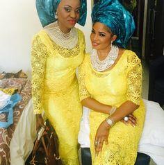 Yellow lace with blue Gele ~ African fashion, Ankara, kitenge, Kente, African prints, Braids, Asoebi, Gele, Nigerian wedding, Ghanaian fashion, African wedding ~DKK