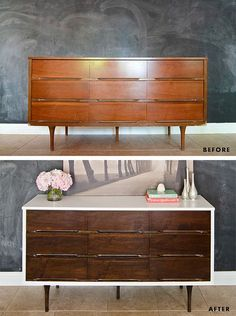 Found a Mid Century Modern Dresser like the top picture for Ronni's room can't wait to refinish it.  I know for sure the top & sides will be white just not too sure what color for the drawers.  Who knows they might just be white too!