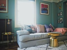 Before & after: decorating my living room blue — melanie lissack Bedroom Decor For Couples Colour, Blue Bedroom Decor, Bedroom Decor For Teen Girls, Dix Blue, Big Living Rooms, Dining Room Inspiration, Colour Inspiration, Paint Colors For Home, Shop Interiors