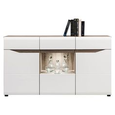 HIGH GLOSS WHITE Sideboard Option Lights | Wide Cupboard 150 cm 3 Doors LIONEL