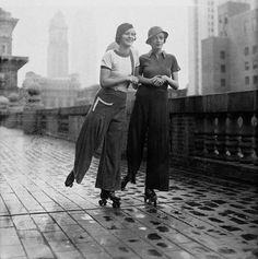 Rollerskating on the roof of the Roosevelt Hotel, 1933