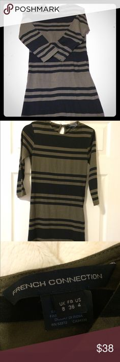 French Connection long sleeve dress French Connection long sleeved olive green/black striped dress. About knee length. 95% cotton, 5% least one/spandex. Has fading from small stain on front left corner. Barely noticeable. See 4th picture. French Connection Dresses Long Sleeve