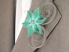 Mint Green Grey Flower Boutonniere, Groomsmen Gift, Mint and Grey Wedding, Spring Weddings, Alternative Boutonniere