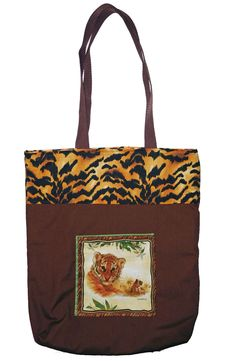 #Tiger Pocket #Tote #Bag, Tiger print  bags, Large Shopping bags Tiger Pocket Totes size is 14.5 in X 15.5 in X 3.5 in, handles drop 12.5 in by beckyspillowshop on Etsy