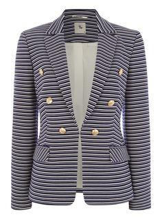 Womens Navy Striped Button Blazer | Tu clothing