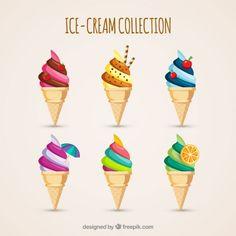 Delicioso sorvete com cone de wafer Vetor grátis …