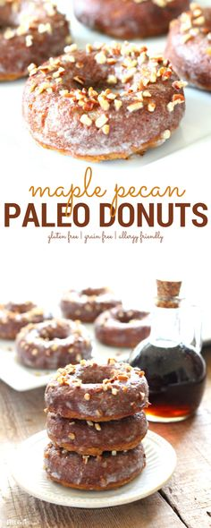 Quick and Easy Maple Pecan Paleo Donuts - The Fit Foodie Mama - Quick and Easy Maple Pecan Paleo Donut Recipe. These donuts are high in plant protein making them t - Paleo Dessert, Healthy Dessert Recipes, Easy Desserts, Baking Recipes, Snack Recipes, Healthy Sweets, Healthy Donuts, Paleo Baking, Healthy Fit