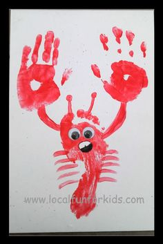 Easy Lobster Hand Print Craft - Crafts Activities for Kids - LocalFunForKids… Fish Crafts, Crafts To Do, Cute Crafts, Arts And Crafts, Best Toddler Toys, Toddler Crafts, Summer Crafts For Kids, Art For Kids, Kid Art