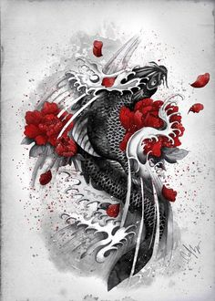 Information, ideas and help for dragon koi fish tattoo designs: Research whenever possible to identify a potential tattoo artist thoroughly before agreeing to tattoo}. Speak to family members about recommending a good tattoo artist. Koi Tattoo Design, Tattoo Designs, Tattoo Ideas, Japan Tattoo Design, Koi Art, Fish Art, Japanese Tattoo Art, Japanese Art, Japanese Dragon
