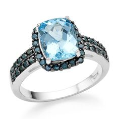 3.15 Carat Genuine Blue Topaz & Blue Diamond Ring in Sterling Silver