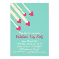 A sweet and modern invitation for a Valentine's Day Party featuring pink hearts coming down from the sky like shooting stars on a teal green background. Fully customizable for your own Valentine's Day Party!