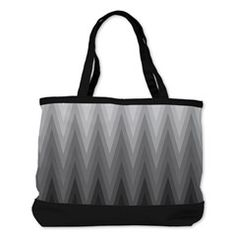 Ombre Black to Grey Chevron Pattern Shoulder Bag