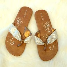 Aldo Sandals Super cute glittery flip flops! Worn maybe twice. In great condition! ALDO Shoes Sandals
