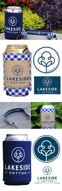 Gingham Burlap and Navy Logo Koolie Sets and Gingham Sunglass Straps | Lakeside Cotton