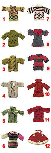 #DIY 12 #Miniature Sweaters. Free Pattern. #christmas #knitting #ornaments