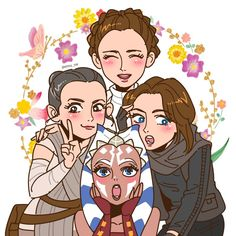 Leia, Rey, Jyn and Ahsoka