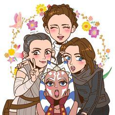 Leia, Rey, Jyn and Ahsoka