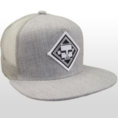 971570a2c6f Front view of our Authentic Mind Plugs Grey Denim trucker hat with a firm  flat brim