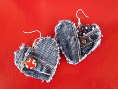 Earring  HeartShaped Recycled Designer by daringmisslassiter, $12.00