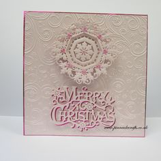 Pink & White Christmas Sue Wilson CED3072 Holly Octagonal Frame & Crafter's Companion Signature Collection - Traditional Christmas - S-TX-MD-GREET - Festive Greeting.