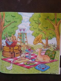 ...pinnic..  #coloring book #romantic country