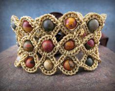 Crochet bijoux Bracelet Bohème ou Brassard des par GlowCreek