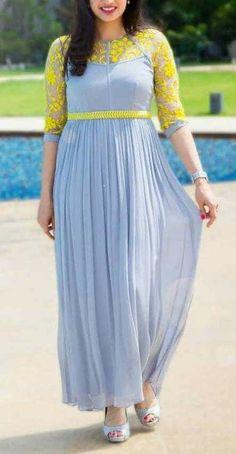 Dresses - Designer kurtis before they hit the market ArtsyCraftsyDad Long Gown Dress, Frock Dress, Long Frock, Long Gowns, Long Dresses, Long Dress Design, Dress Neck Designs, Blouse Designs, Simple Kurti Designs